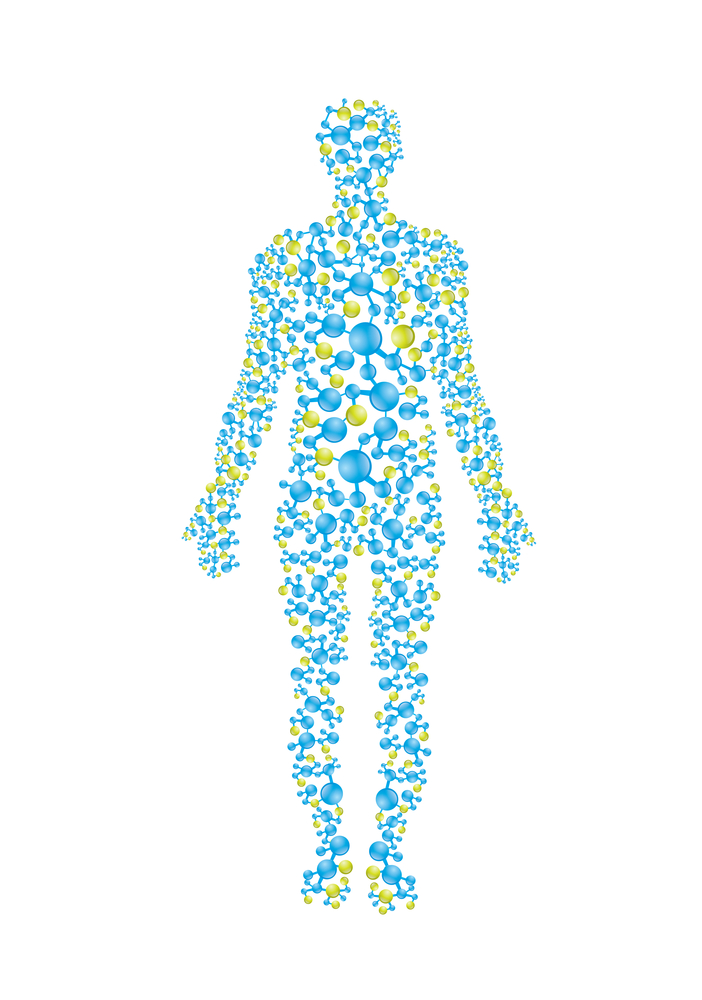 human body in blue and green molecules