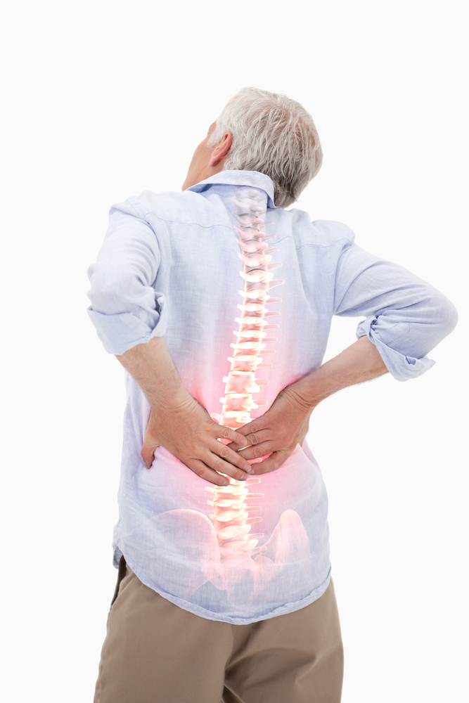 man with back pain image shows spine