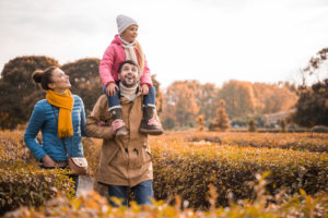 happy family during fall